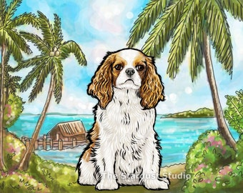 King Charlies Cavalier Spaniel Print(8x10, 12x16, 16x20 or 24x36 inch Paper or Canvas prints) Art Luster Dogs Pets Tropical Beach Cottage