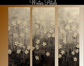 "SALE Reserved for Reine  3 Panel Gallery canvas abstract  Modern 36"" palette knife  Impasto floral Oil painting by Nicolette Vaughan Horner"