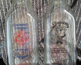 Now On Sale Collectible Set of 2 Glass Milk Bottles Vintage Bottles 1960's 1970's Kitchen Home Decor