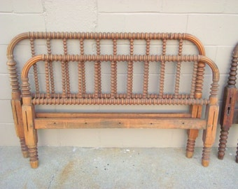 Antique Jenny Lind BED Full Size Heirloom Spindle Spool Bed Solid Wood Farmhouse Country Headboard and Footboard - Cottage Chic Heirloom