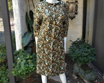 Vintage 1960's Hong Kong Fashion Inc. Jeweled Paisley Evening Coat - Size Small