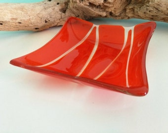 Orange and Clear Square Glass Dish