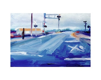 5x7 inch Print of Original Oil Painting of a Railroad Crossing Near Selinas, California