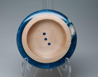Handcrafted Wooden Ring Coin Dish Brilliant Blue Pearl Resin White Inlay Wedding Engagement Housewarming Gift, Collectible Art Gift Box Plus
