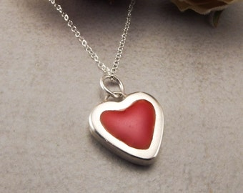 Heart Pendant Necklace Sterling Silver with Colored Resin Fashion Jewelry for Women