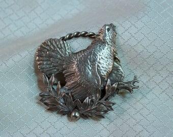 Vintage Pewter Hen Brooch
