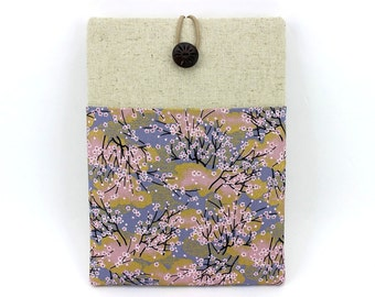 iPad Pro Cases, Gift For Her, With Pocket iPad Case, Cherry Blossoms Grey