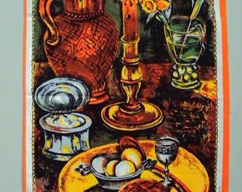 Vtg. Vony Tea Towel, Man Cave Cabin Flemish Painting NOS