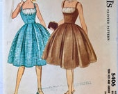 McCall's Pattern 5406 c. 1960 Size 12T Camisole top dress with fitted bodice