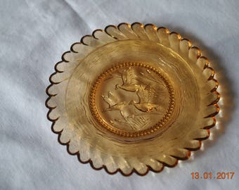 Cup Plate Light Amber with Flying Geese and Cattails