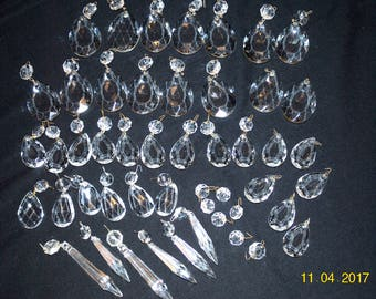 48 Pieces of an Assortment of Tear Drops and Long Chandelier Crystals