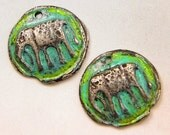 Elephant Hand Cast Rustic Pewter Jewelry Components with Patina