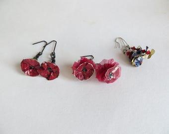 Sale Black steel Spanish rose earrings Gothic red or blue aluminium Spain Portugal Halloween dangling Tribal roses - Contemporary earrings