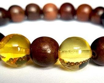 "Bracelet; Christmas gift; Xmas gift; Baltic Amber and Tiger Tree Bracelet ""Tiger EYES"""