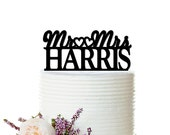 Glitter Wedding Cake Topper - Personalized Cake Topper - Mr and Mrs -  Custom Last Name Wedding Cake Topper - Peachwik Cake Topper - PT0015