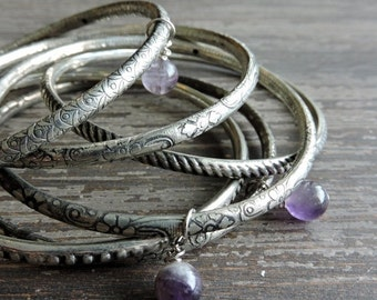 ON SALE Stacked Silver Bangles: Boho Beaded Bracelet Set, Genuine Amethyst Beads, Engraved Indian Gypsy Jewelry, Bohemian Stackable Bangles,