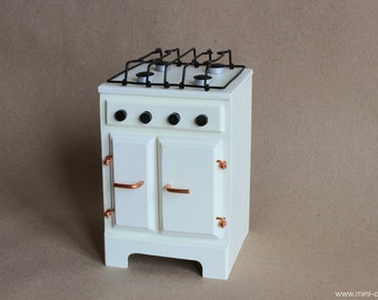 1/6 scale Baking Stove / Rustic Oven / Kitchen appliance / Cooker Shabby Farmhouse furniture for Fashion doll Blythe, Barbie, Pullip, Momoko