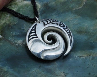 Sterling Silver  Koru Wave Pendant~ connections with the ocean. Maori jewelry
