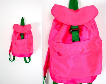 Vintage Retro Neon Pink Backpack Rucksack