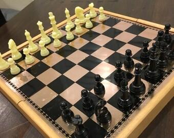Vintage Chess midevil renaissance travel size plastic magnetic set