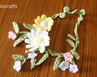 Beautiful Alaskan Forget-Me-Nots and Daisy Crochet Necklace, Crochet Daisy Flowers Necklace
