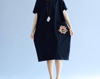 Black/ pink large size bat sleeve cotton short sleeved long dress