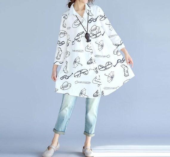 Leisure White shirt/ black shirt/ lapel loose single breasted doll shirt/ cotton printed shirt
