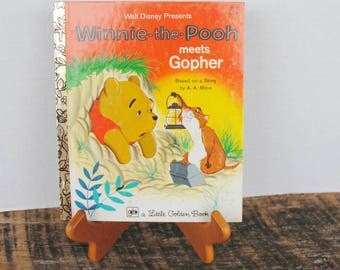Vintage Winnie The Pooh Meets Gopher a Little Golden Book 1977