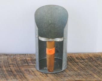 Vintage Grain Feed Scoop Galvanized with Wood Handle