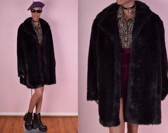 90s Black Faux Fur Coat/ XL/ 1990s/ Jacket