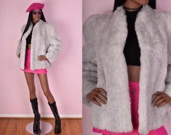 70s Grey Faux Fur Coat/ Small/ 1970s/ Jacket