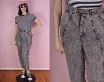 80s Grey Acid Wash High Waisted Jeans/ 32.5 Waist/ 1980s/ Mom Jeans/ Denim