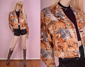 90s Cat, Lion, Leopard and Tiger Print Jacket/ Large/ 1990s/ Animal Print