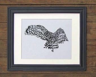 Owl Linocut Art Print - Bird Falcon Eagle