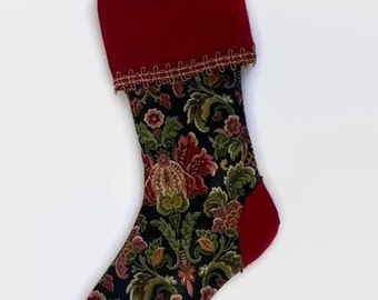 "Gold and Burgundy Floral Upcycled Christmas Stocking, 13"" Long"