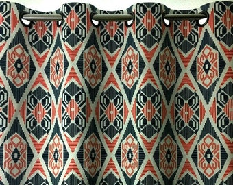 Navy Blue Coral White Geometric Curtains Munsee  Grommet  63 72 84 90 96 108 120 Long x 25 or 50 Wide