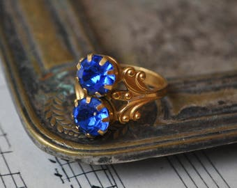 Vintage brass-glass ring.