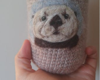Sea otter can cozy  Needle felted