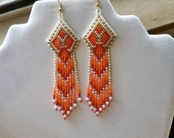 Seed Beaded Native American Style Earrings White Orange Gold Shoulder Duster Brick Stitch, Gypsy, Boho,  Peytote  Native Ready to Ship
