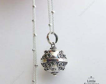Cute 12mm Flowers Harmony Ball Sterling Silver Pendant Chain Necklace LS73