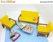 Hop in The Basket Hong Kong Miniature Living room 4 Piece Furniture  Dollhouse Modern Style Florida Room Yellow