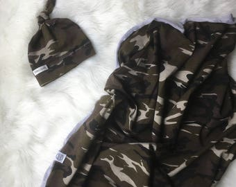 Baby swaddle blanket with hat/ camouflage swaddle set/swaddle set/ organic swaddle blanket/ swaddle set with hat