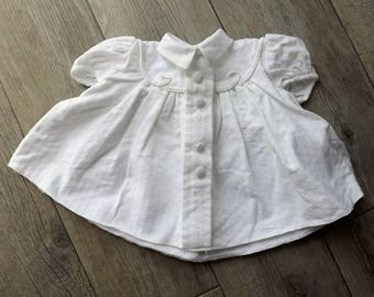 Vintage French baby's dress, beautiful newborn dress in white with cording and puffed sleeves