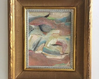 Pastel Abstract Painting in Gilt Frame