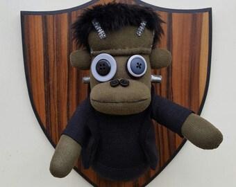 Wall Mounted Frankenstein's Monster Sock Monkey, horror head