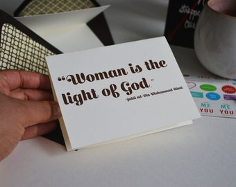 Woman is the Light of God- Rumi Quote - Chocolate Brown Lined Envelope - Single Blank Greeting Card