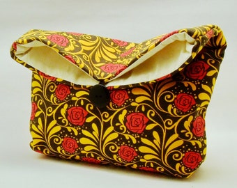 Foldover clutch, Fold over bag, clutch purse, evening clutch, wedding purse, bridesmaid gifts - Red roses (Ref. FC15 )