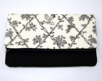 Foldover zipper clutch, zipper pouch, wedding purse, evening clutch, bridesmaid gifts set - Vines (Ref. FZ13)