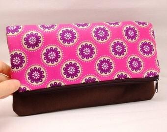 Foldover zipper clutch, zipper pouch, wedding purse, evening clutch, bridesmaid gifts set - Beautiful pattern (Ref. FZ24)