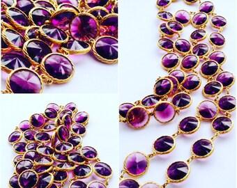Purple Rivoli Bezel Set Crystal Necklace Heliotrope Channel Set Red Rhinestone Vintage Fashion Jewelry